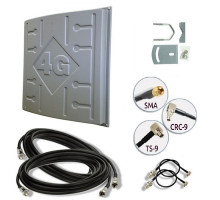 Комплект 3G/4G антенна MIMO LTE Runbit 18 ДБ (1700-2700 мГц) кабель и переходники