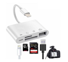 Адаптер Apple Lightning to SD/TF Card Reader 4 in 1 with USB OTG and Lightning for iPhone/iPad