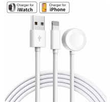 Кабель зарядки 2 in 1 Apple Watch Magnetic with Lightning Charging Cable for  iPhone/iPad (1 m)