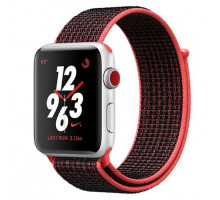 Apple Watch Nike+ Series 3 (GPS + Cellular) 42mm Silver Aluminum Case with Bright Crimson/Black Nike Sport Loop (MQMG2)