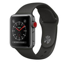 Apple Watch Series 3 (GPS + Cellular) 38mm Space Gray Aluminum Case with Black Sport Band (MQKG2)
