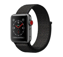 Apple Watch Series 3 (GPS + Cellular) 42mm Space Gray Case w. Black Sport L. (MRQF2)