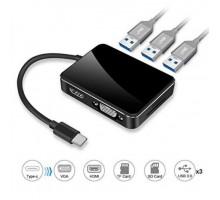 Адаптер Type-C USB 3.0 Hub + HDMI + VGA + TF SD Card Reader