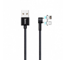 Кабель Hoco U20 L Shape Magnetic Adsorption Lightning + MicroUSB Cable 1m Black