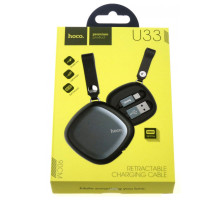 Кабель USB Hoco U33 Retractable Lightning 0.9m Black