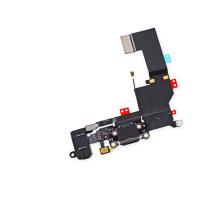 Шлейф iPhone 7 с разъемом зарядки и аудио-разъемом черный